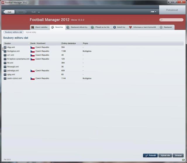 FM 2012 Výběr editované položky