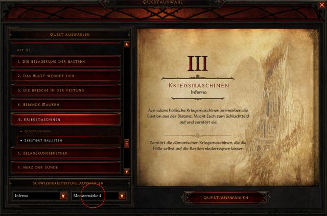 Výběr síly monster Diablo 3