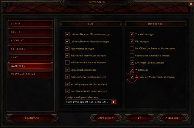 zaškrtnutí v Options Diablo 3